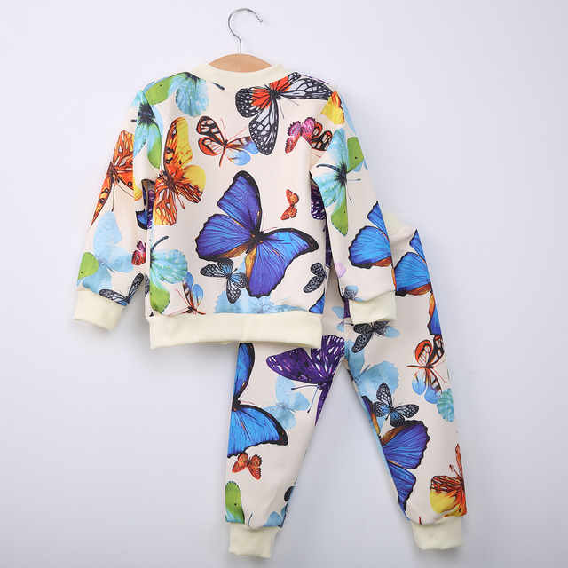 0ef6a7d69 Butterfly Baby Girls Kids Lovely Cute Trendy Autumn Sweatshirt Tops Pants  Outfits Tracksuit Clothes