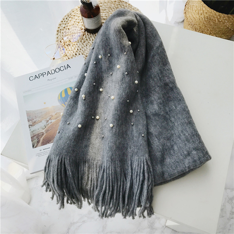 Luna&Dolphin Women Winter Scaves Warm Knitted White Pearl Nail Bead Soft Scarves Tassel Woolen Big Tippet Pashmina Blanket Shawl