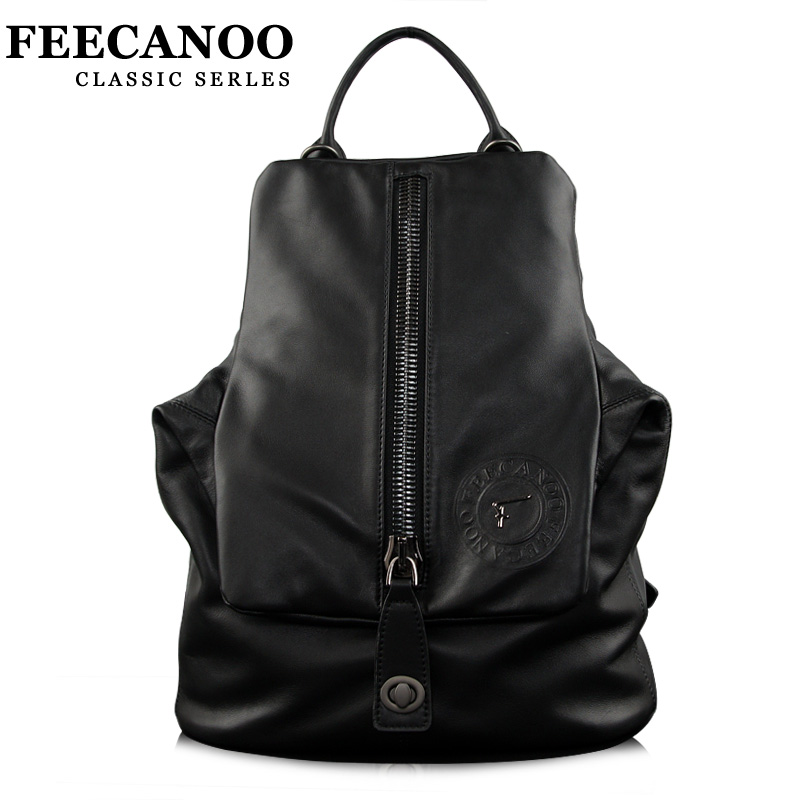 Feecanoo New Designer Leather Men Backpacks Luxury Brand Genuine Leather Male Bagpack Fashion Casual Men's Daypacks School Bags