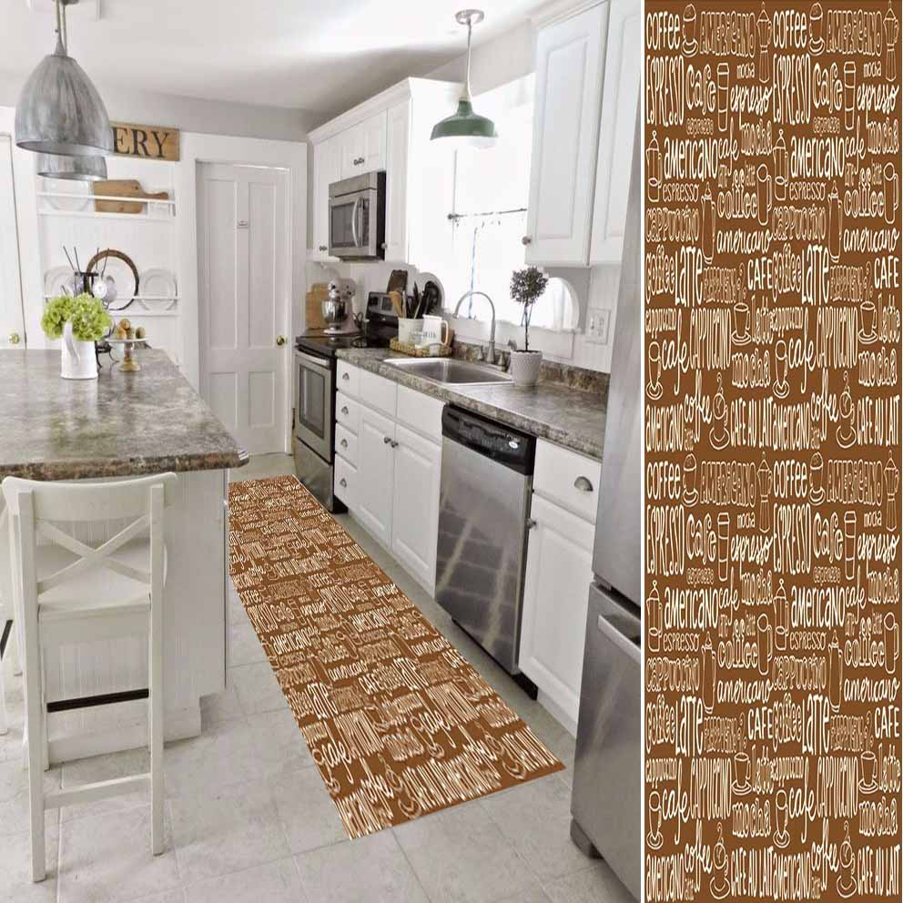 Else Brown White Coffee Writen Kitchen 3d Print Non Slip Microfiber Washable Long Runner Mat Kitchen Rugs Hallway Carpets