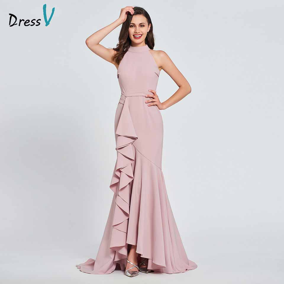 Dressv Party-Gown Mermaid Evening Ruffles Sleeveless Pink Custom Floor-Length High Zipper-Up