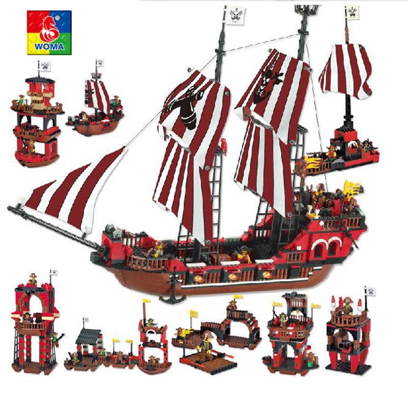 WOMA Pirates Castle Educational Building Blocks Toys For Children Gift Caribbean Ship Heroes knight Weapon Compatible with legoe