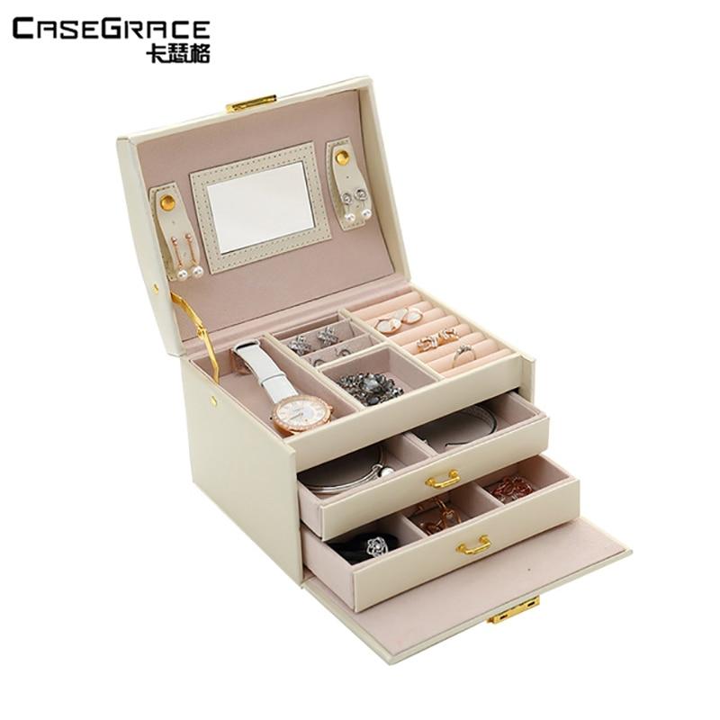 Casegrace изысканная коробка для ювелирных изделий для женщин кожа 3 ящика макияж коробка цепочки и ожерелья коробки хранения Ящики контейнеры ...