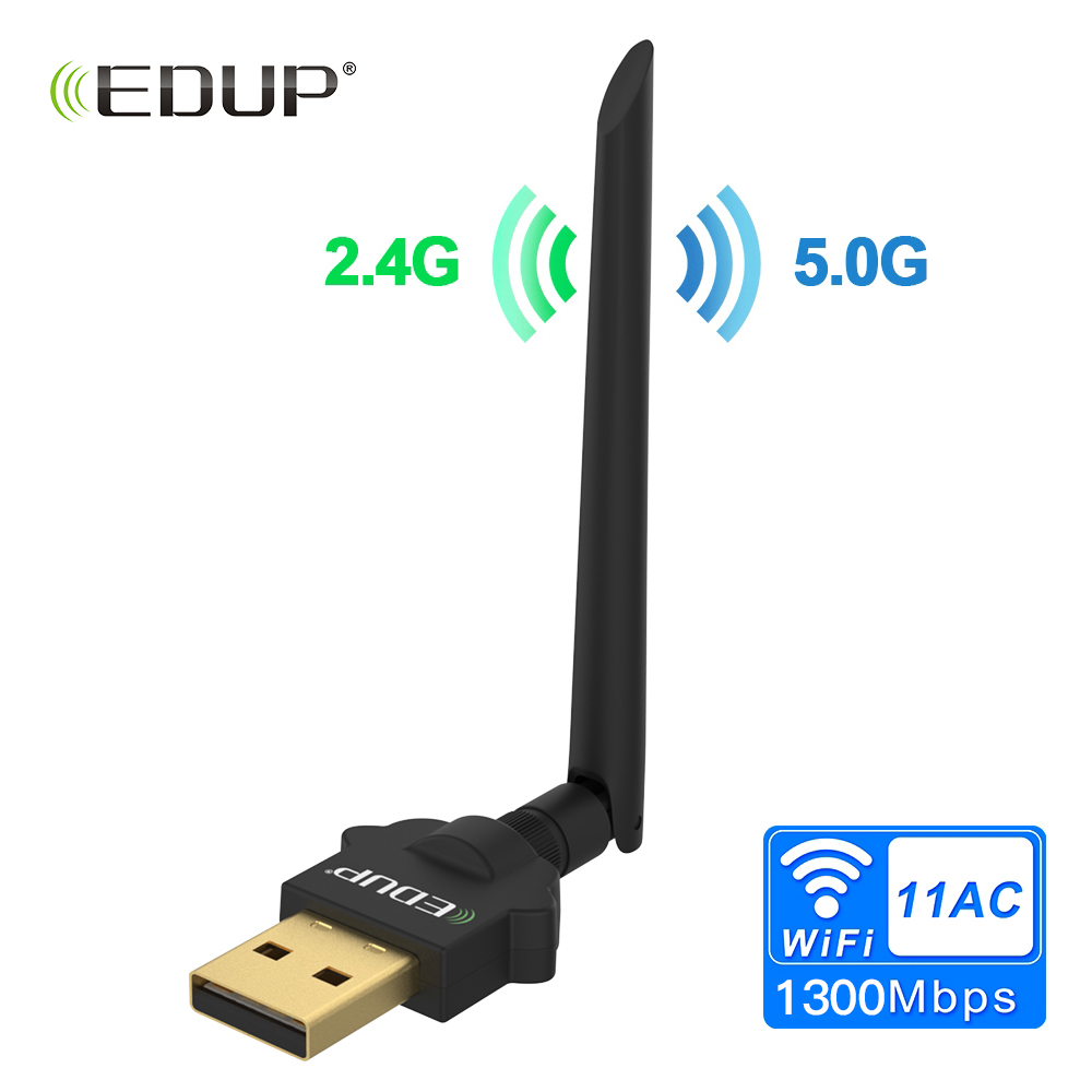 EDUP 2.4/5GHz 1300Mbps USB Wireless WiFi Adapter Dual Band WiFi Receiver AC Wi-Fi Dongle Network Card 2dBi Antenna Windows/Mac цена 2017