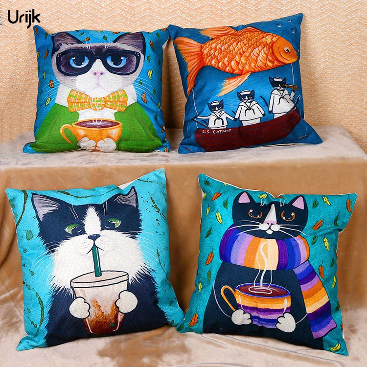 Urijk 1PC Creative Pillow Decorative for Home Cartoon Cushion Cover for Child Lovely Cat Fish Printed Throw Pillows Home Decor