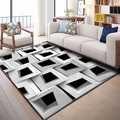 他グレー白黒キューブ抽象的な幾何学 3d プリントノンスリップマイクロファイバーリビングルーム装飾的な近代洗えるエリアラグマットリビングルーム