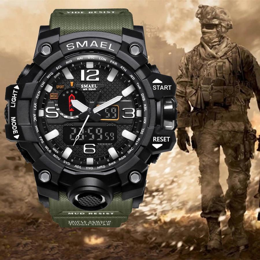 Top lujo marca G estilo militar hombres relojes deportivos de doble pantalla Mens reloj de cuarzo hombres impermeable reloj Digital Relogio