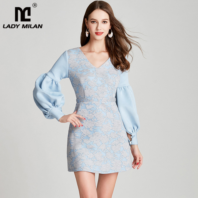 Lady Milan 2018 Womens Sexy V Neck Long Sleeves Patchwork Printed Fashion High Street Autumn Runway Dresses
