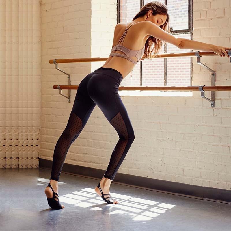 2017 Stylish Black Mesh Panels Stirrup Yoga Pants High