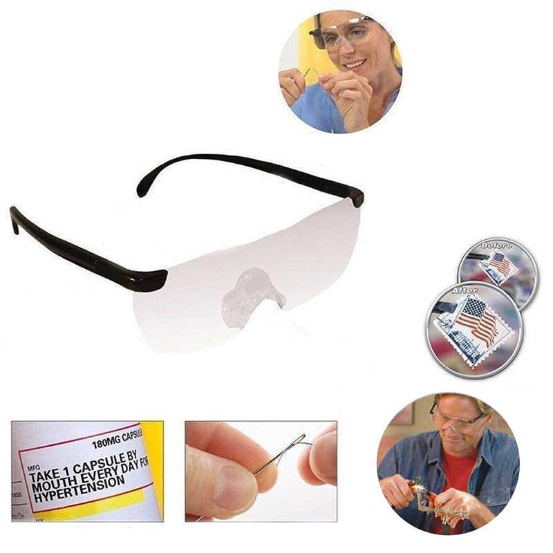 Zilead 250 Derajat Visi Kacamata Magnifier Pembesar Eyewear Membaca Kacamata Portable Hadiah untuk Orang Tua Presbyopic Pembesaran