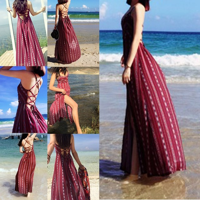 Summer Maxi Dress Backless Boho Chic Women S Beach Dress Red