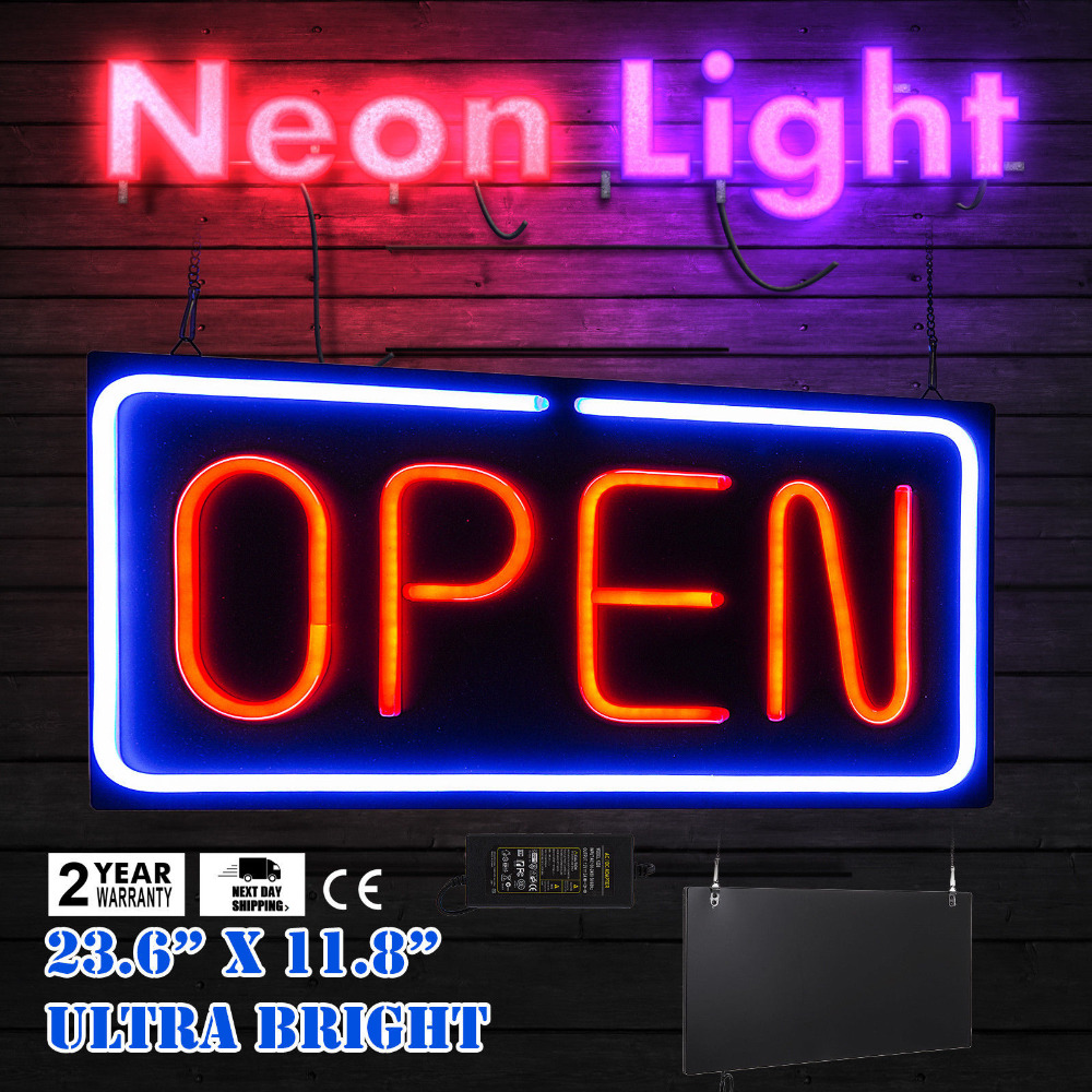 "Neon ""Open"" Sign 24x12 inch Led ""Open"" Sign 30W Horizontal Sign ""Open"" Bright Light"