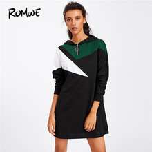 242ec1bc9d9 ROMWE Geometric Colorblock Zipper Hoodie Sweatshirt Dress Women Casual  Spring Autumn Long Sleeve Clothing Straight Short Dress