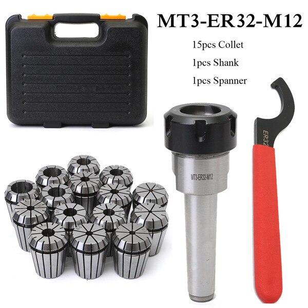 MT3 ER32 M12 Collet Chuck Cono Holder + 15 Pz ER32 Primavera Pinza 3-20mm Spanner