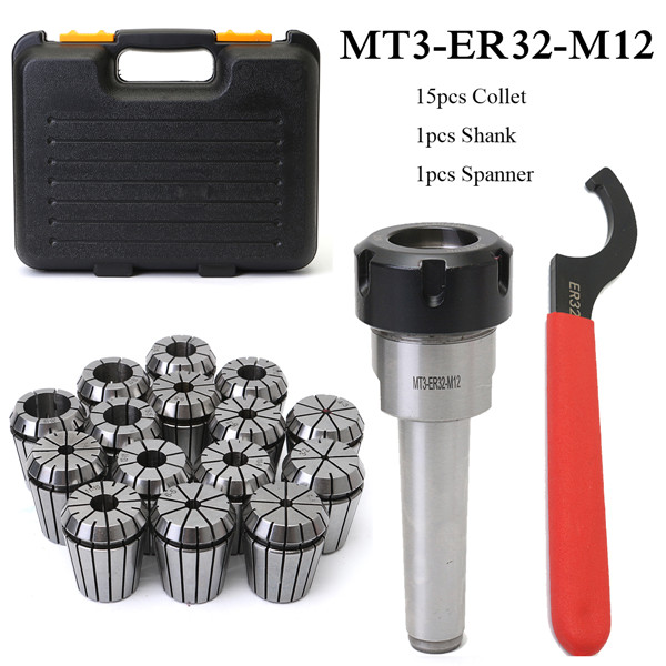 MT3 ER32 M12 Collet Chuck Taper Holder + 15Pcs ER32 Spring Collet 3-20mm Spanner mt 2 morse taper shank with 3 16mm spanner chuck 2 morse taper shank b16 heavy spanner drill chuck for twist drills chuck