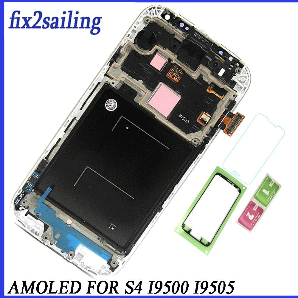 Super AMOLED ЖК-дисплей Дисплей для samsung Galaxy S4 I9500 I9505 ЖК-дисплей Экран замена дигитайзер Ассамблеи Бесплатная доставка с рамкой