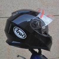 Black Motorcycle Helmet With Inner Sun Visor Dual Visor Double Lens Racing Motocross Flip Up Helmet In Winter Season