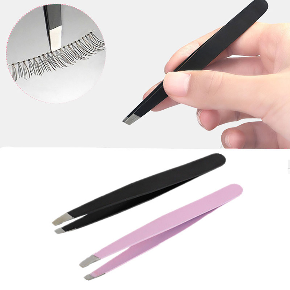 Popfeel Stainless Steel Slanted Tip Eyebrow Tweezers Hair Removal Clip Makeup Tool Cosmetic Tools