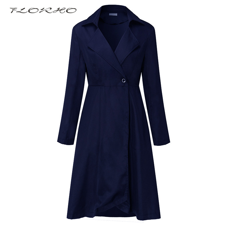 Brand Women Autumn Winter   Trench   Coat Dress Casual Outwear Fashion Long Sleeve Solid Wrapped Dress Office Ladies Coat Plus Size