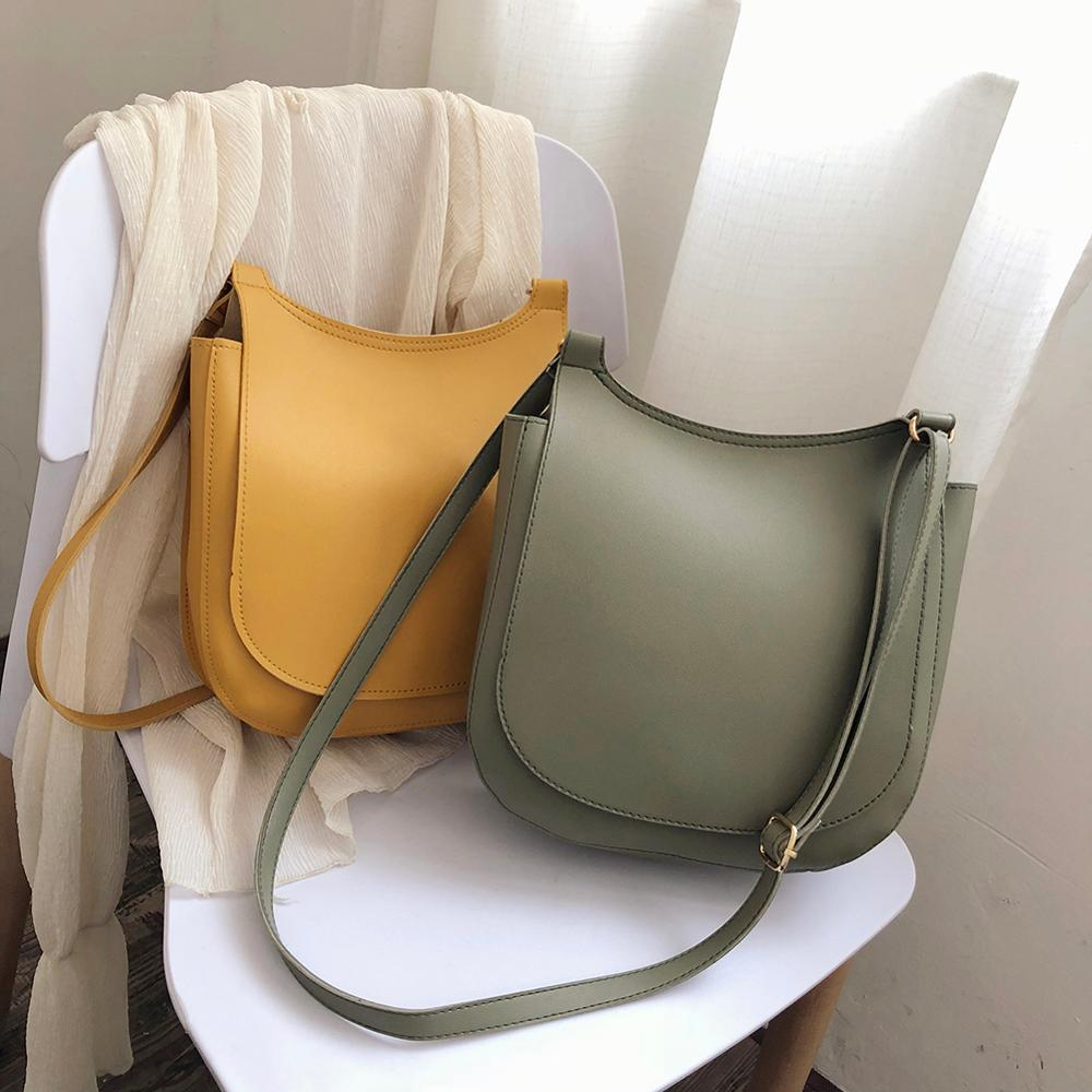 Women Fashion Wide Solid Color Shoulder Handbags Female Simple PU Leather Women Large Capacity Pure Color Flap Crossbody Bags