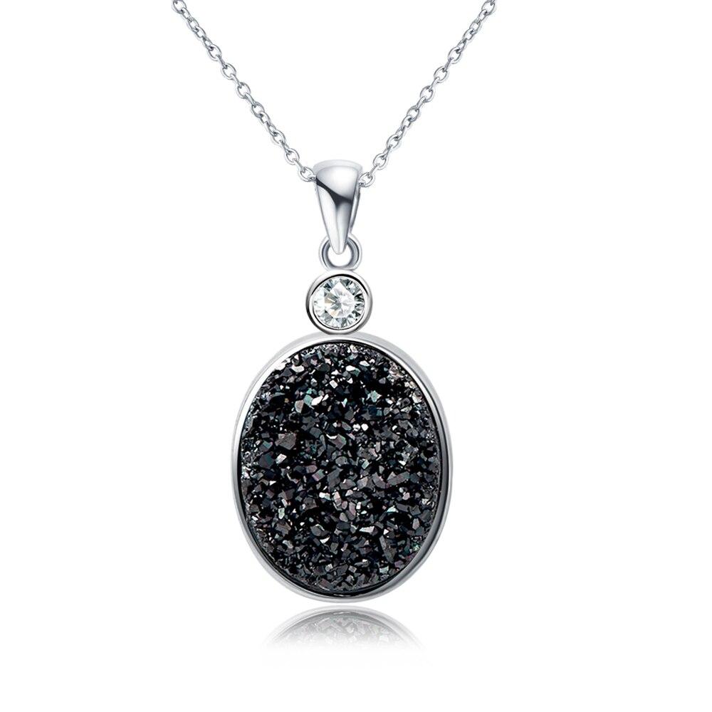 DORMITH real 925 sterling Silver Natural black Drusy Quartz Pendant Necklace