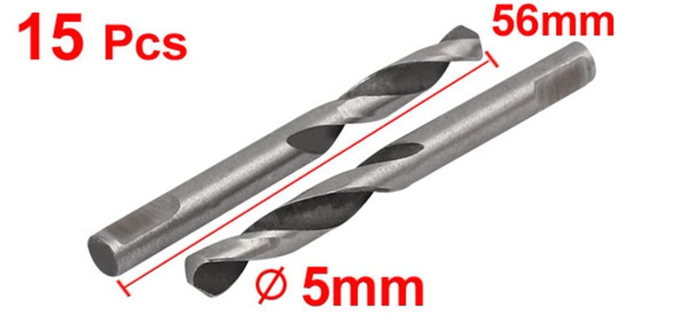 15pcs Pilot Drill Bits 5mmx56mm M42 HSS 2 Flute Pilot Drilling Drill Bits For Hole Saw Arbor Reduces Lock up On Breakthrough in Drill Bits from Tools