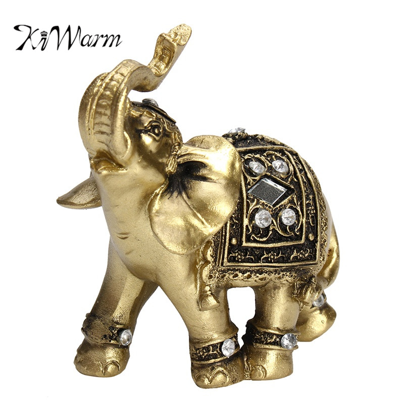 KiWarm Feng Shui Elegant Elephant Trunk Statue Lucky Wealth Figurine Crafts Ornaments Gift for Home Office Desktop Decoration