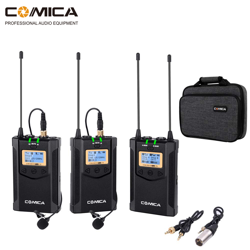Wireless Camera Microphone Comica WM100 PLUS Dual Lavalier Lapel Mic System for Canon Nikon Fuji Cameras