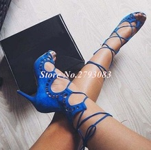 цена Sexy Blue Black Suede Leather Gladiator Sandals Women Peep Toe Cut-out Lace-up Women Summer Shoes Hollow Ladies Shoes With Heel онлайн в 2017 году