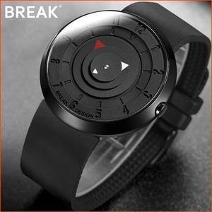 Image 1 - BREAK minimalista Reloj de marca de lujo para hombre y mujer, resistente al agua, de cuarzo, informal, militar, deportivo, negro