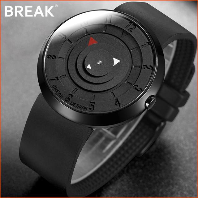 BREAK minimalista Reloj de marca de lujo para hombre y mujer, resistente al agua, de cuarzo, informal, militar, deportivo, negro