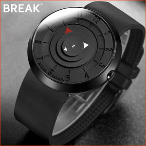 Image 1 - Przerwa minimalistyczny luksusowy zegarek marki mężczyźni kobiety czarna wodoodporna moda Casual wojskowe kwarcowe zegarki sportowe