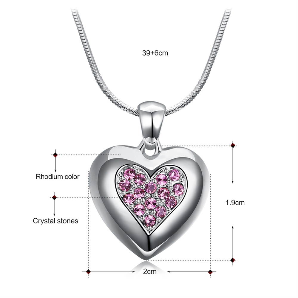 DreamCarnival 1989 Flash Deal Sales Party Jewelry parure Bijoux femme Pink Crystals Heart Pendant Necklace for Women 18N1019 21