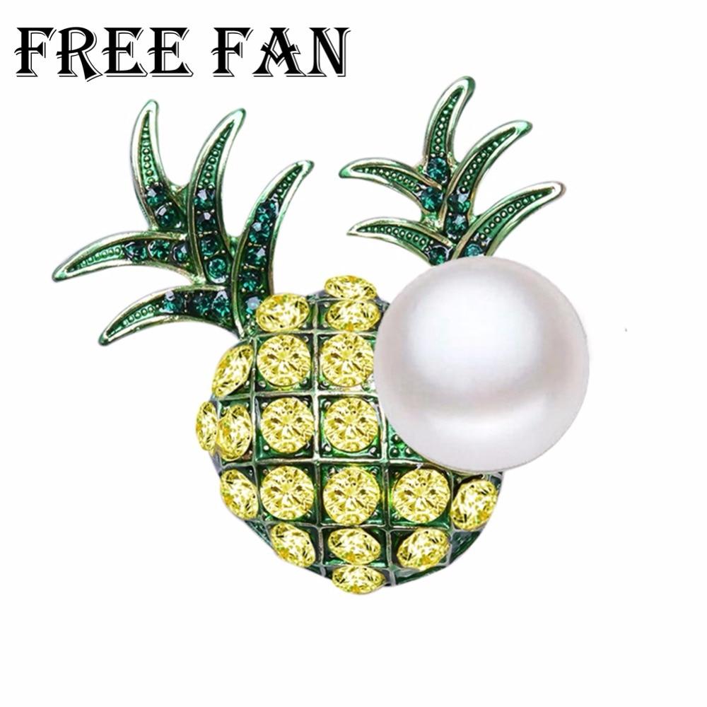 Free Fan Pineapple Fruit Pearl Brooch Pins Fashion 2018 Vintage Enamel Scarf Safety Pins For Women Shirt Dress Brosh Jewelry