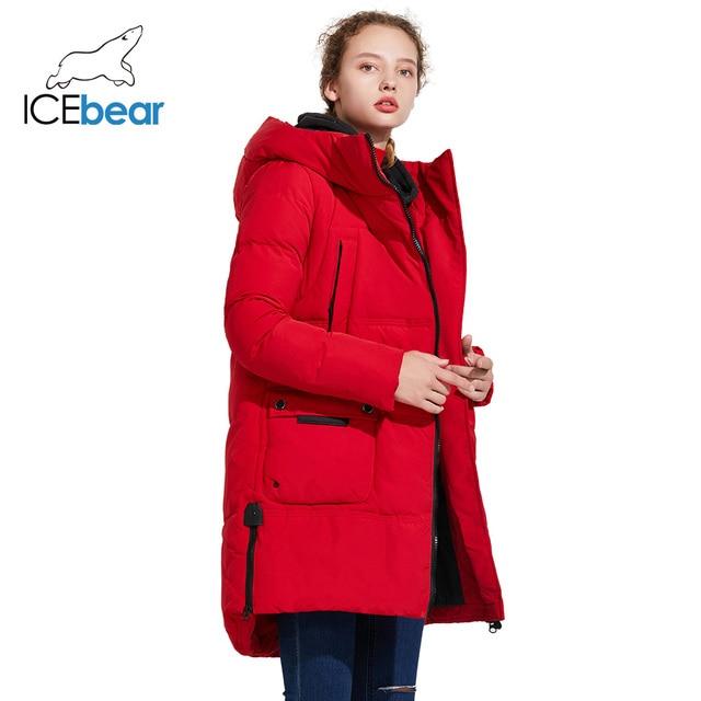 ICEbear 2018 Модный бренд женская тёплая зимняя куртка с ветрозащитным воротником и большими карманами средней длины 17G670