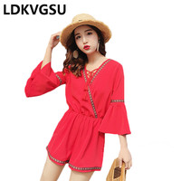 Beach Holiday Playsuits Female 2018 Summer New High Waisted Chiffon Wide Leg Pants Flarel Sleeve V Neck Red Rompers Women Is473