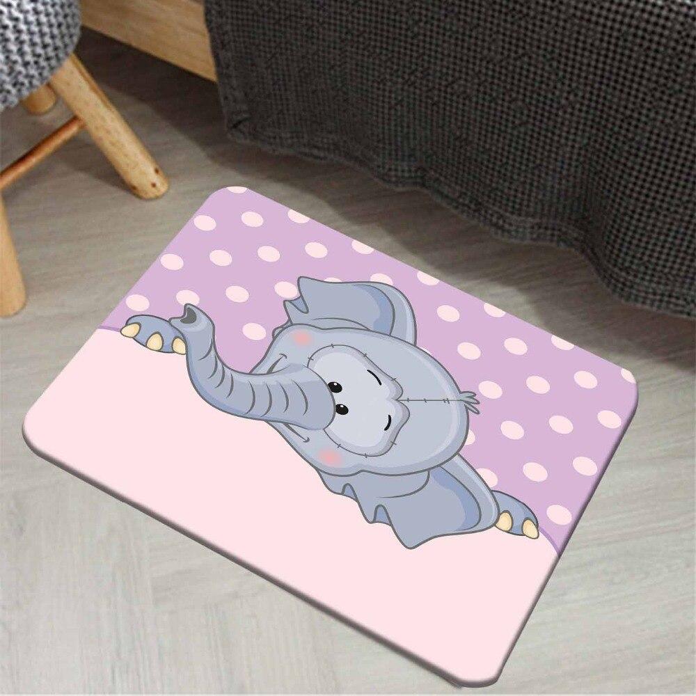 Else Purple Pink Dots Gray Cute Elephants Animals 3d Print Anti Slip Doormat Home Decor Entryway Kids Children Room Mat