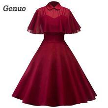 Genuo Spring Autumn Women Party Dress Sheer Mesh Cape Vintage Vestidos Lapel Collar Short Sleeve A-Line Dresses Robe