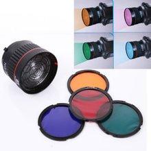 Nanguang NG-10X Studio Light Focus Lens Bowen Mount For Flash & Led Light With 4 Color Filter With Light Kit