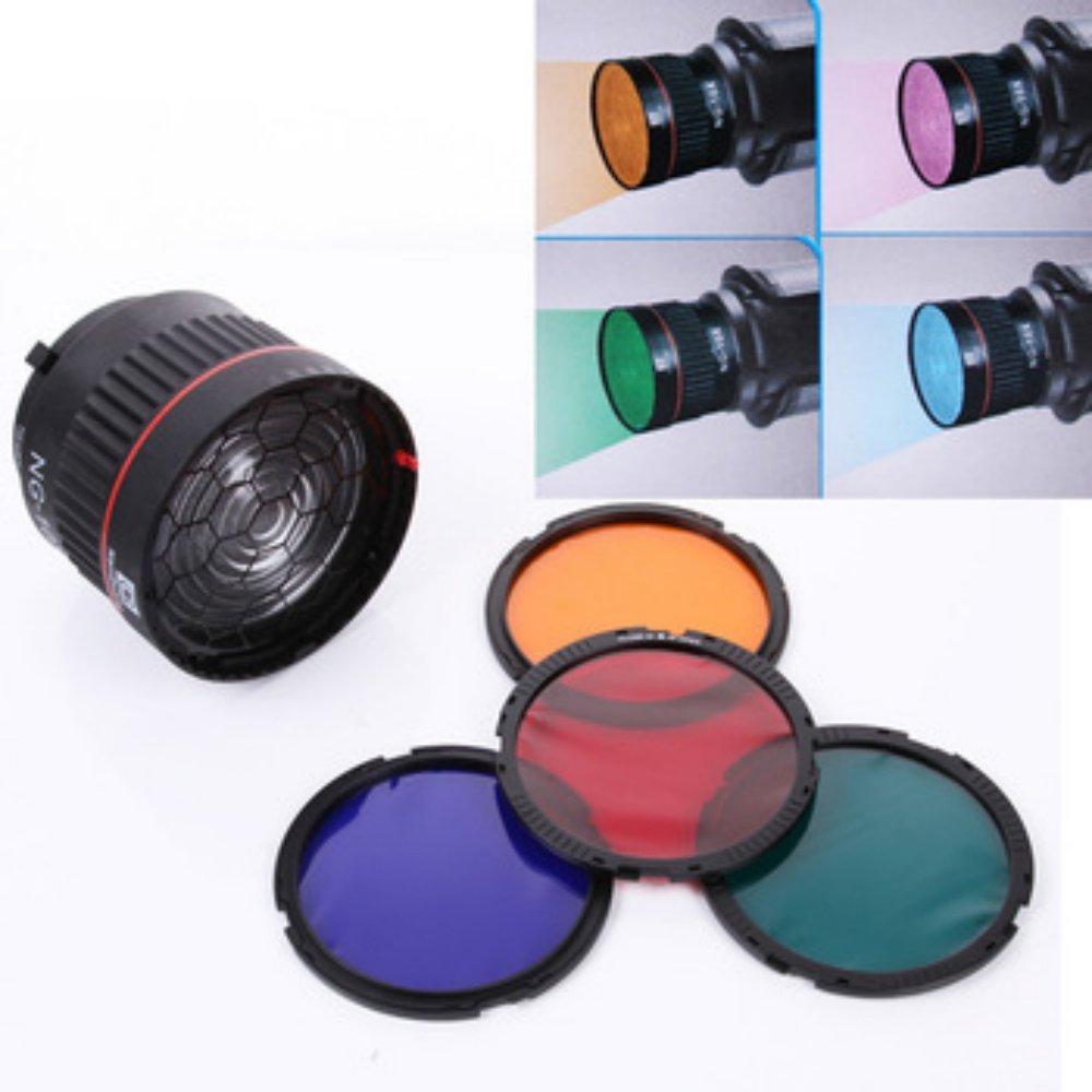 Nanguang NG-10X Studio lumière mise au point lentille Bowen monture pour Flash lumière LED avec 4 couleur filtre lumière ensemble accessoires de photographie