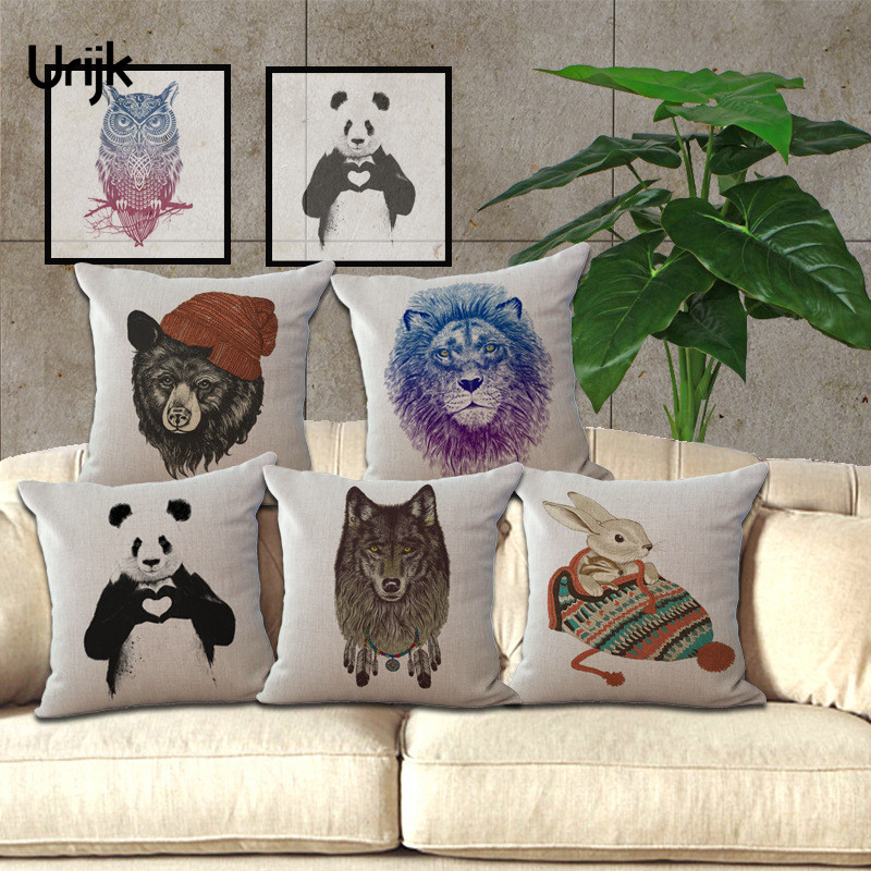 Urijk 1PC Animanl Hand Painted Pillow for Children Cushion Cover Cotton Linen Home Decoration Sofa Decor Pillow Cover Cojines