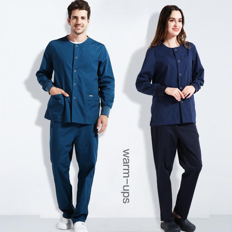 Unisex Scrub Jacket Warm-Up Medical Coat Scrub Sets Nursing Uniforms Snap Front Solid Long Sleeves Surgeon Work Clothing