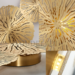 Image 5 - Modern LED Wall Sconce Light Copper hollow lotus leaf wall lamps Bedroom Kitchen Stair Home Fixtures Industrial Decor Luminaire