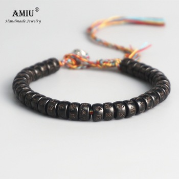 AMIU Tibetan buddhist Braided Cotton Thread Lucky Knots bracelet Natural Coconut Shell Beads 2