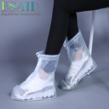 BSAID Shoe Cover Waterproof  Fore Zipper Reusable Overshoes Shoe Protector Transparent Rain Cover Shoe Accessories For Men Women