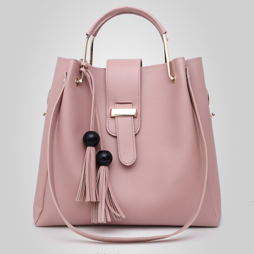 ba6573b7dc ... 3Pcs/Sets Women Handbags Leather Shoulder Bags Female Large Capacity  Casual Tote Bag Tassel Bucket Purses/ Handbags sac. -54%. Click to enlarge