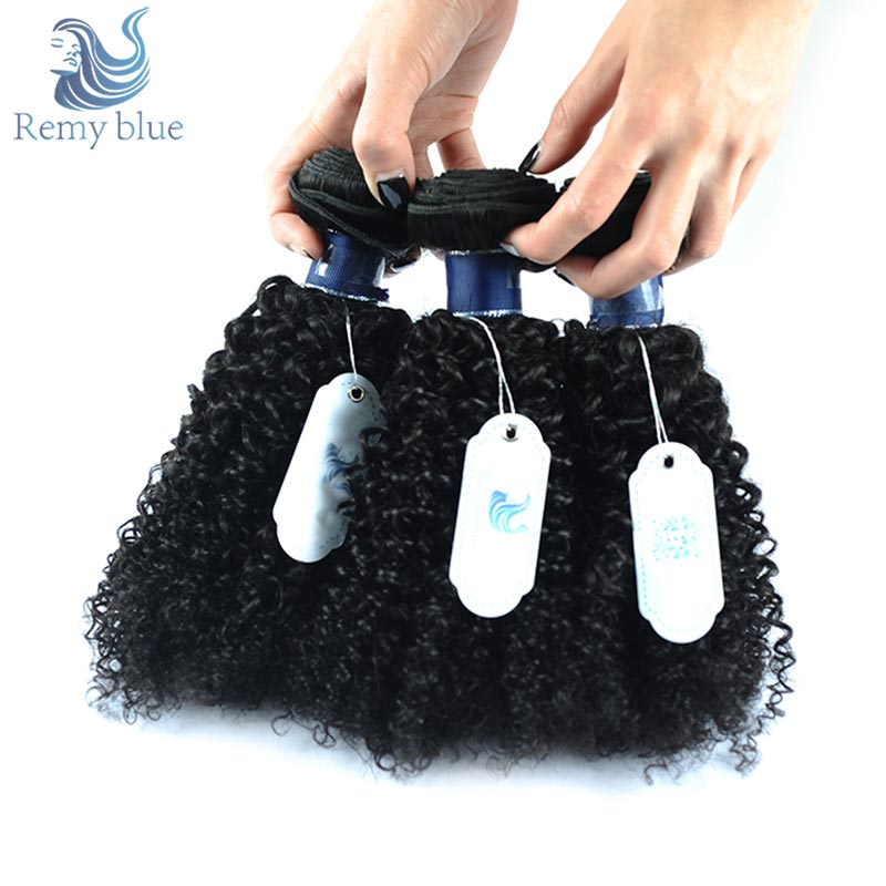 Remy Blue Hair Peruvian Kinky Curly Hair Weave Bundles Human Hair Extensions Natural Color 100% Remy Hair 3 Bundles No Shedding