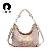 REALER Brand Genuine Leather Handbag Women Tassel Shoulder Bag Female Small Tote Bag Gold Python Pattern