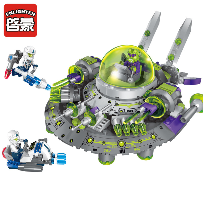 1611 ENLIGHTEN Space Adventure Intercept Alien Cruiser Model Building Blocks Classic Figure Toys For Children Compatible Legoe enlighten building blocks military cruiser model building blocks girls
