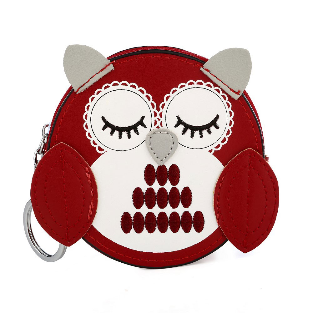 Kids Girls Cute Cartoon Owl Shape Faux Leather Coin Purse Zip Small Wallet Pouch